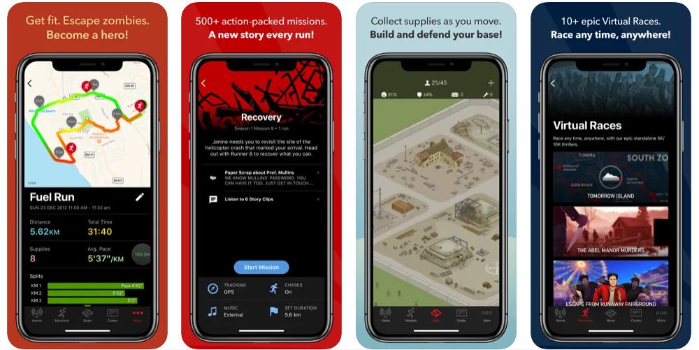 Four screenshots of the Zombie Run app