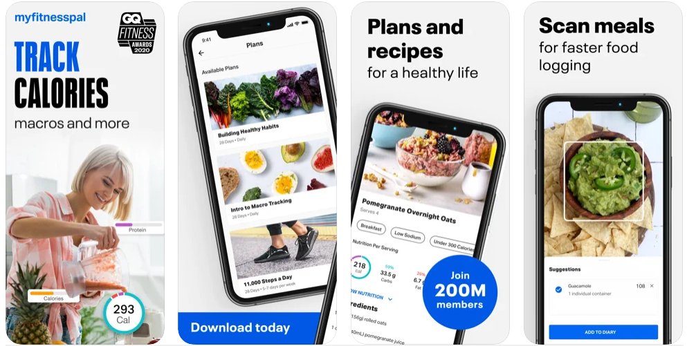 Four screenshots showing the MyFitnessPal App Screens