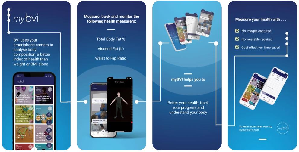 Four screenshots of the my-BVI app