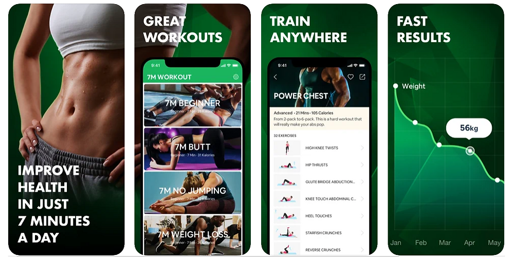 Four Screenshots showing the 7 Minute Workouts benefits