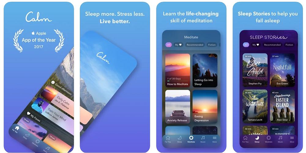 Four Screenshots showing the Calm app