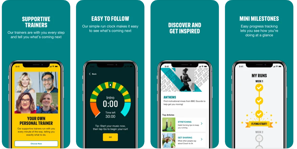 Four screenshots of the One You Couch to 5K app