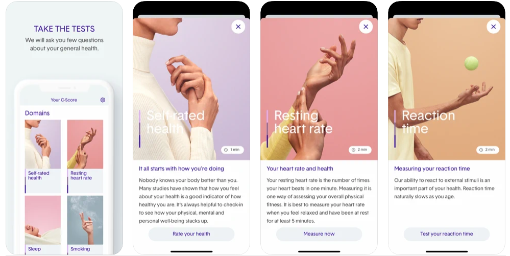 Four screenshots of the C-Score app