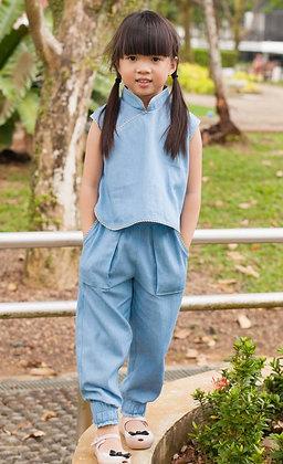 girls cheongsam pants set