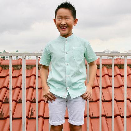 mandarin-collared boy's shirt