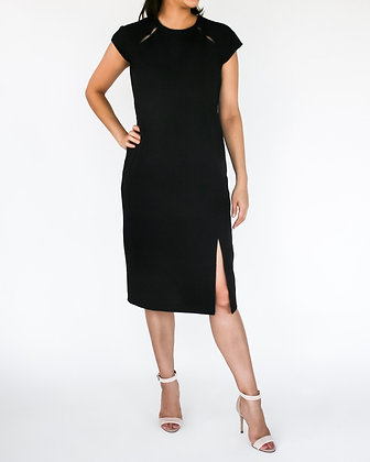EXQUISITE Knit Shift Dress with Peep Holes - Black