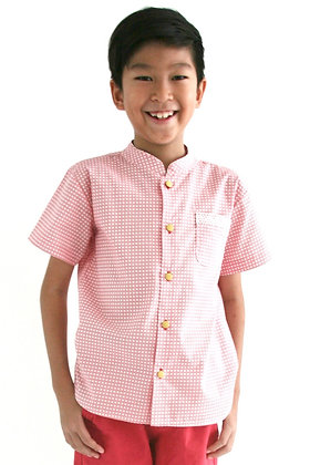 KAI Mandarin Collar Shirt - Red