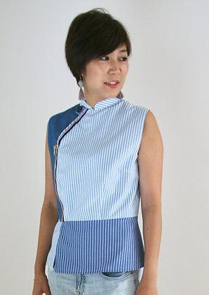 modern cheongsam top with zip