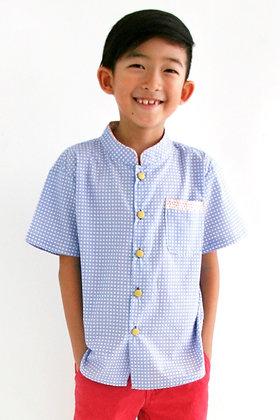 KAI Mandarin Collar Shirt - Marine Blue