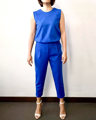 WHIMSY Knit Low Back Jumpsuit - Blue