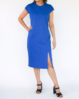 EXQUISITE Knit Shift Dress with Peep Holes - Blue