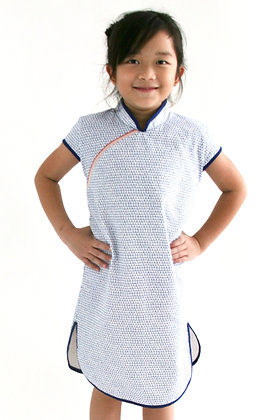 PIPER Cheongsam Dress -Blue