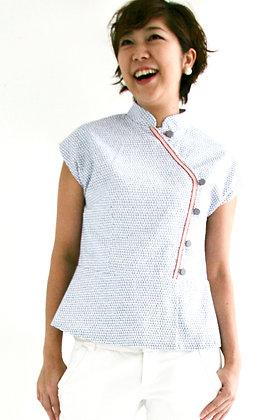JADE Cheongsam Peplum Top - Blue