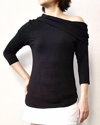 ALLURE One-Shoulder Jersey Top - Black