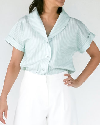 NIGHTINGALE Dropped Sleeves Shirt - Green Stripes