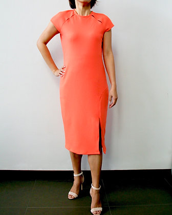 EXQUISITE Knit Shift Dress with Peep Holes -Orange