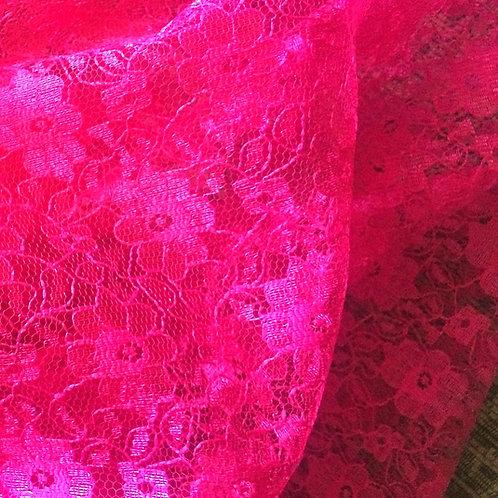Cerise Pink Flower Print Lace