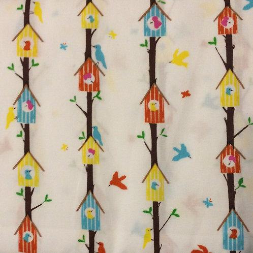 Bird House Cotton Fabric