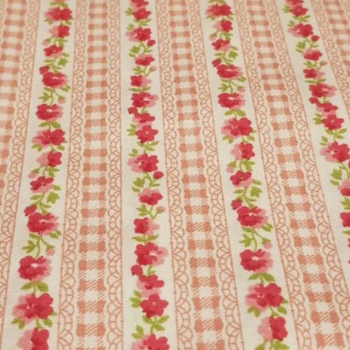 Pink Floral Stripe 100% Cotton