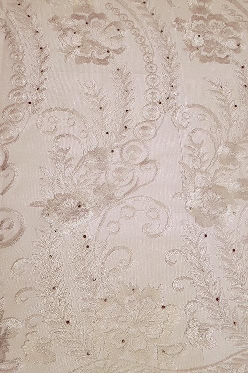 French Lace Rhinestone Fabric