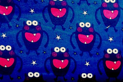 100% Cotton Blue Monster Print
