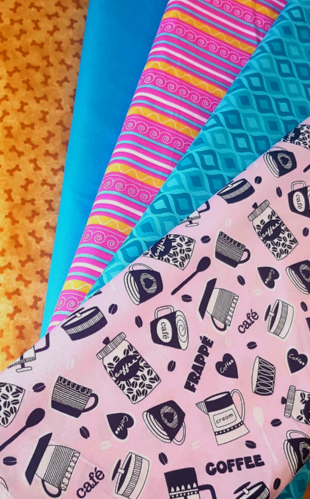 Vibrant cotton fabrics suitable for face-masks and general projects.