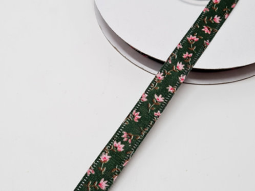 Green & Pink Floral Double Face Ribbon