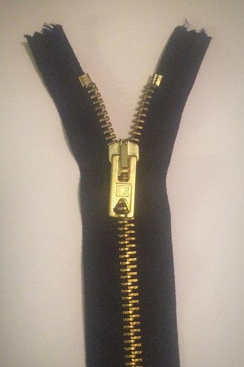 "Navy Brass C/End 7"" Zip"