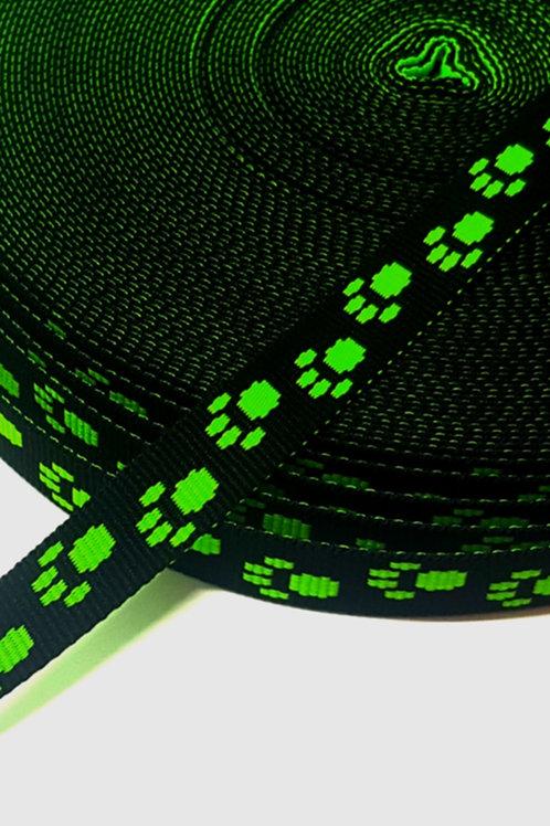 Green Paw Print Webbing