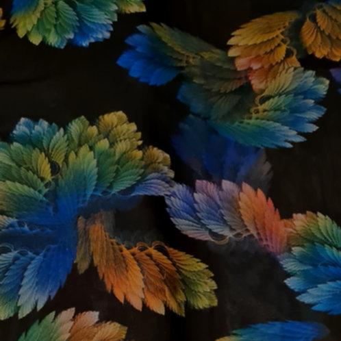 Black Floral Chiffon Fabric