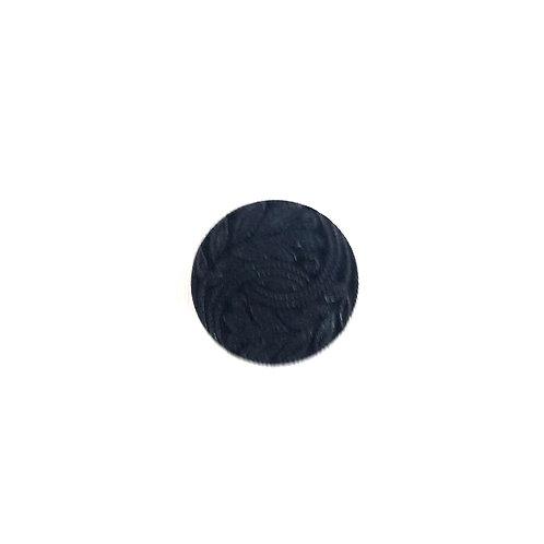 Round Black Shank Button with Leaf Design