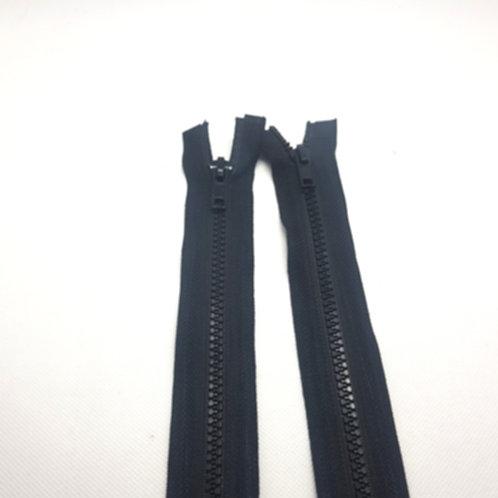 Black Chunky Plastic Two Way Zip
