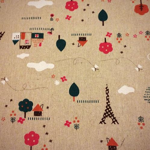 Topsy Turvy Linen Fabric Print