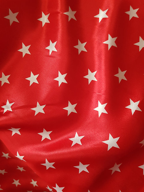 Red Satin Star Fabric