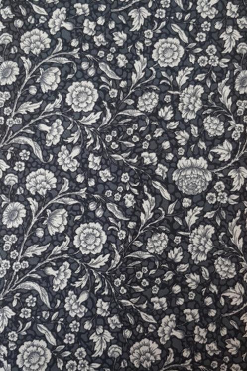 White Floral Print on Dark Grey 100% Cotton