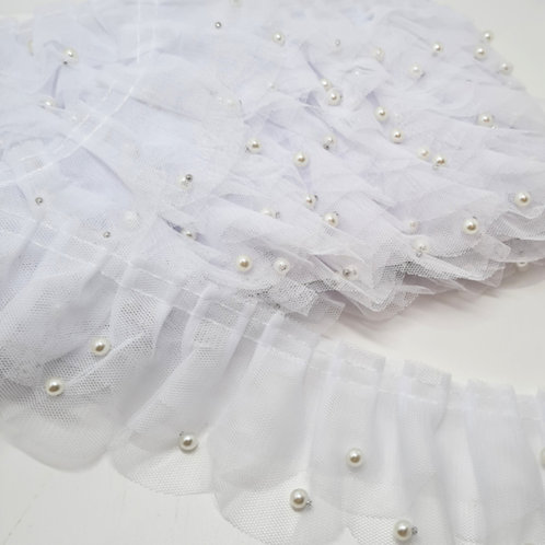 Tulle Ruffle Trim with Beads White
