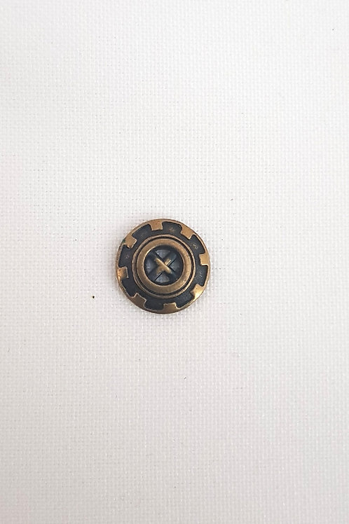 Brass Four Hole Button with Design