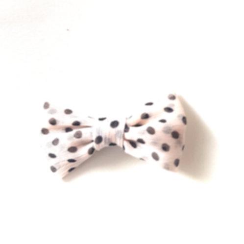 Light Pink Polka Dot Clip on Bow