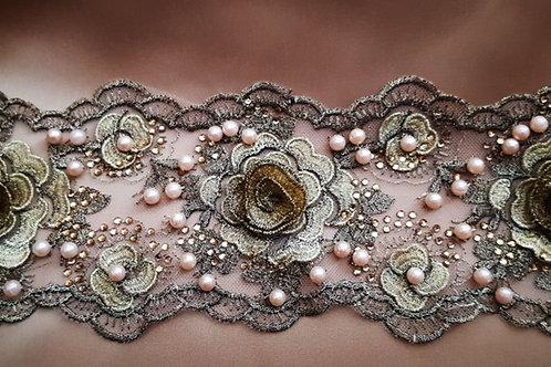 Pearl Lace 3D Flower Gold Trim