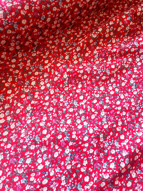 White Floral on Red 100% Cotton