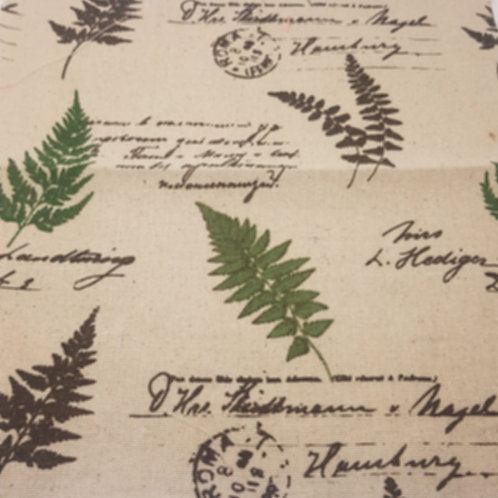 Green Leaf Linen Print with Stamp
