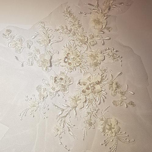 3D Flower Pearl Beaded Lace Applique