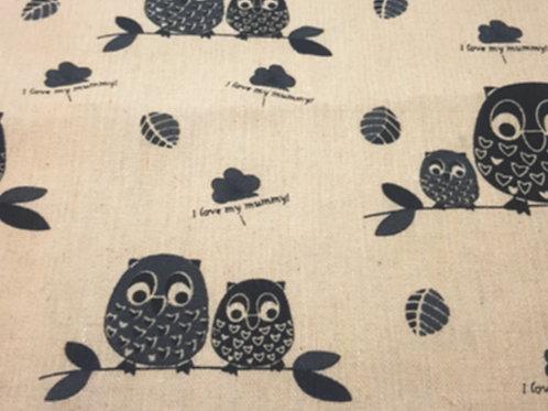 Owl Linen Print  Fat Quarter