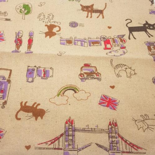 London Theme Linen Print with Bridge