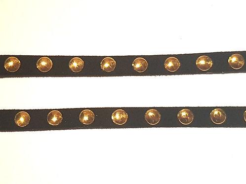 Black Suede Gold Studded Trim