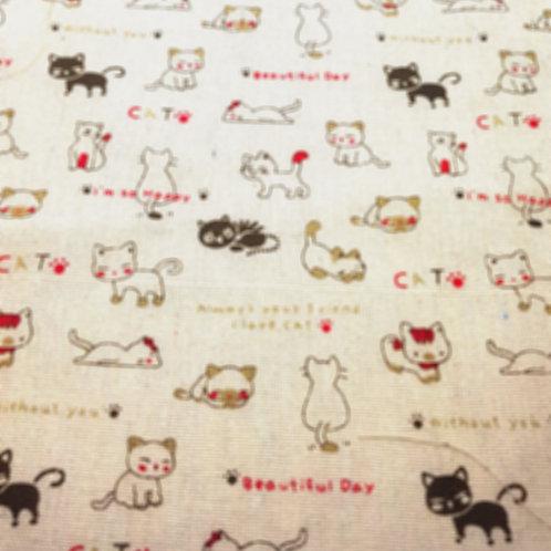 Beautiful Day Cat Linen Fat Quarter
