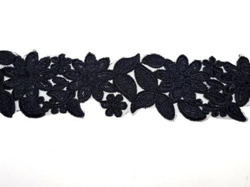 Embroidered Flower Applique Lace Trim Black