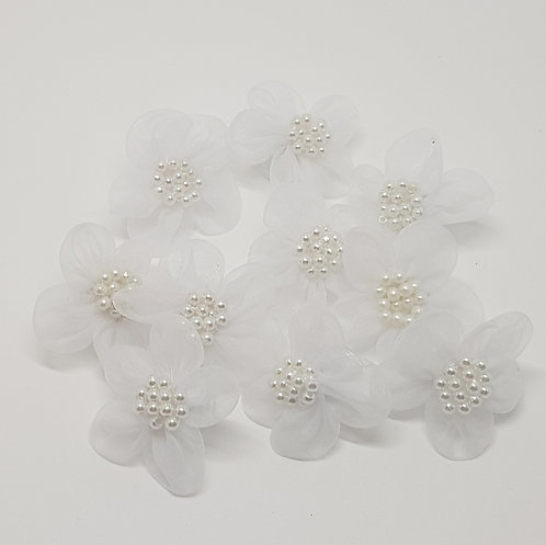 White Flower Pearl Clips