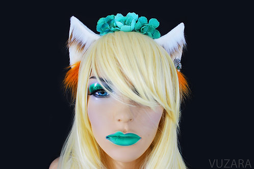 Floral White & Brown Fox Ears / Cat Ears- Poseable