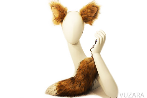 Faux Red Fox Tail Tug Tail